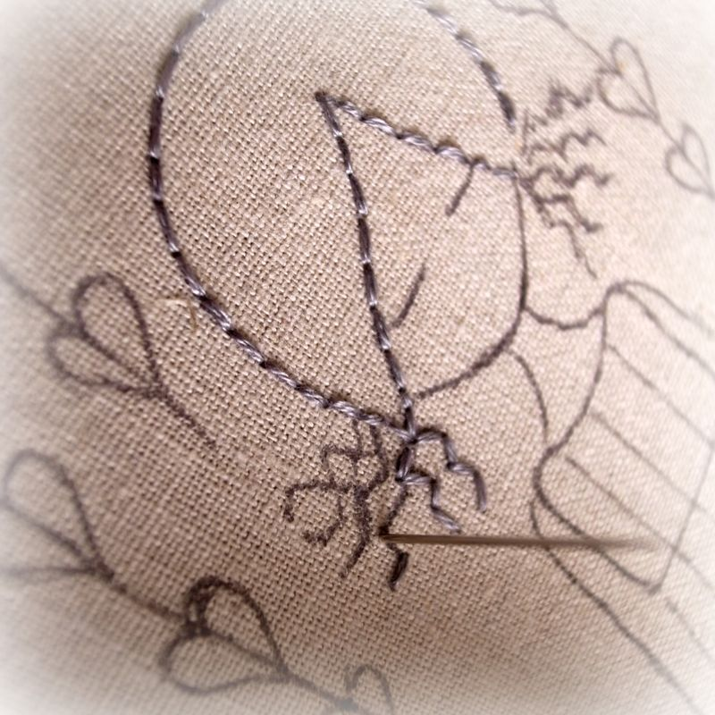 Garden girl stitching