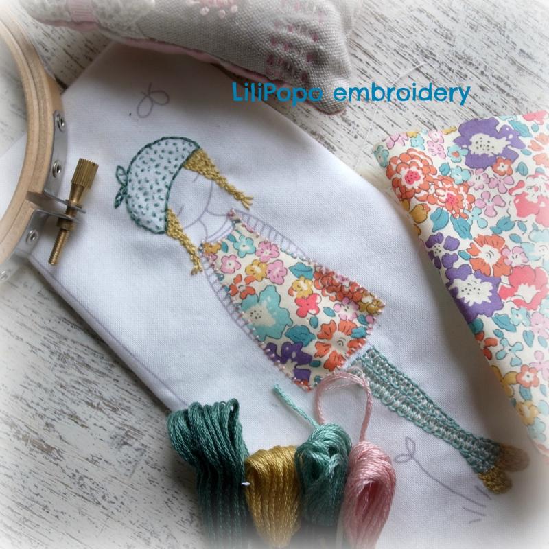 Lilipopo lavender girl embroidery