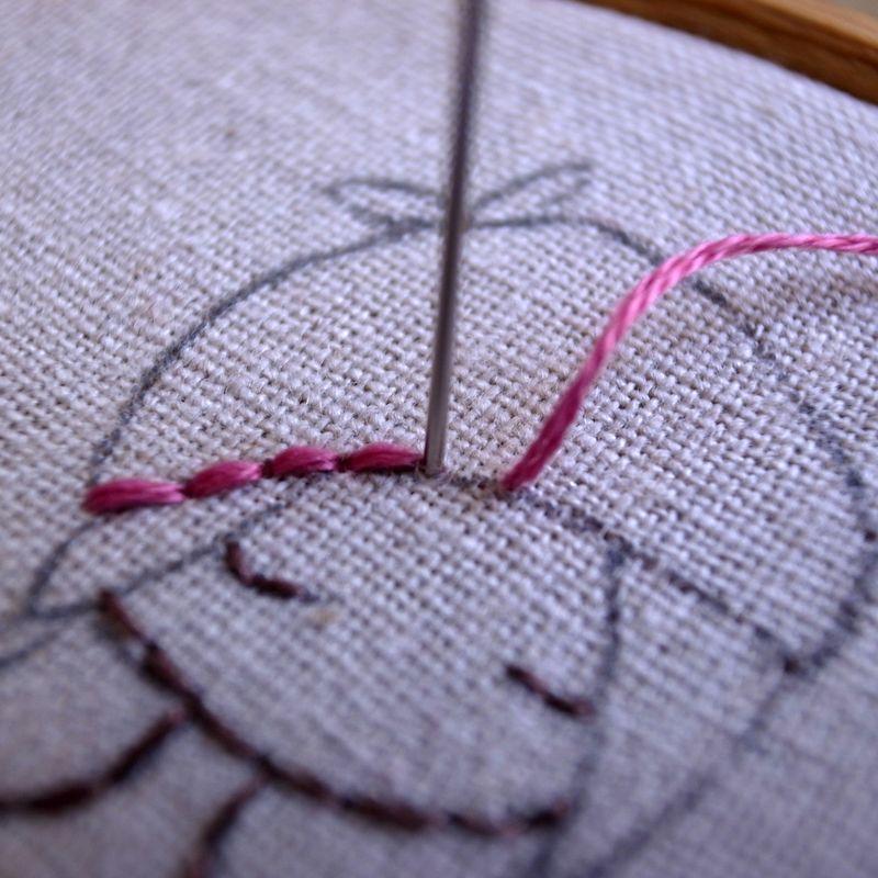 Pink hat stitching